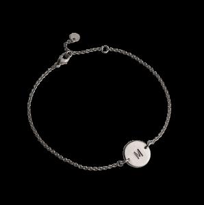 Lovetag Bracelet with 1 Lovetag, rhodineret sterlingsølv
