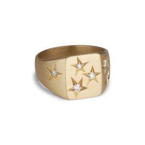 Classic signet ring with diamonds, 18 karat guld
