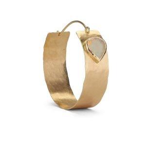 Flat Opal Hoop, 18 carat gold