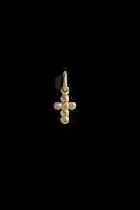Cross Pendant with 6 Diamonds, forgyldt sterling sølv