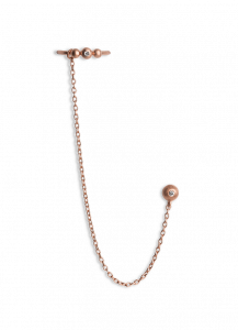 Chain Earring with Diamond Ear Cuff, rosaforgyldt sterlingsølv