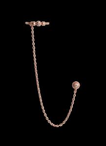 Chain Earring with Diamond Ear Cuff, rosa forgyllt sølv