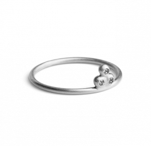 Diamond Temple Ring, sterlingsølv