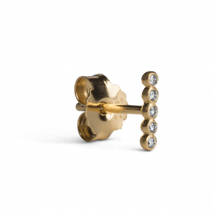 Ball Row Earring with Diamonds, forgyldt sterling silver