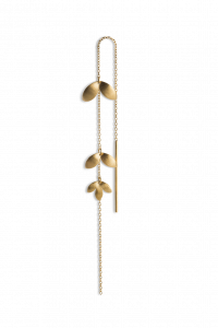Chain Earring with 3 Leaves, forgyldt sterling sølv