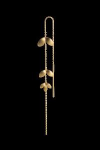 Chain Earring with Three Leaves, vergoldetes Sterlingsilber