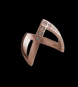 Diamond V Ring, rosa forgylt sterlingsølv, 0,07 ct.