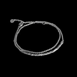 Bead Bracelet with Chain, sterling sølv