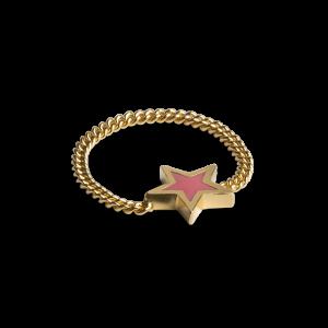 Chain Ring with Star, förgyllt sterlingsilver