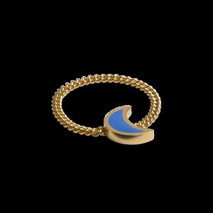 Chain Ring with Crescent, förgyllt sterlingsilver