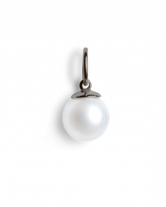 Big pearl pendant, rhodinated sterling silver