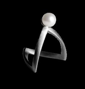 Pearl V Ring, rodinerat sterlingsilver