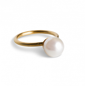 Small Pearl Ring, gold-plated sterling silver