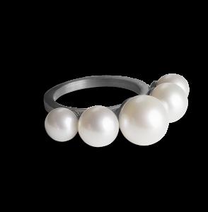 Pearl Diadem Ring, rodinerat sterlingsilver