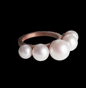 Perlendiademring, rosavergoldetem Sterlingsilber