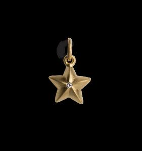 Star Pendant with 1 Diamond, förgyllt sterling silver