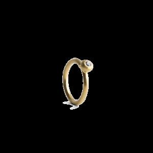 Twist-Ohrring mit Brillant, mattem vergoldetem Sterlingsilber