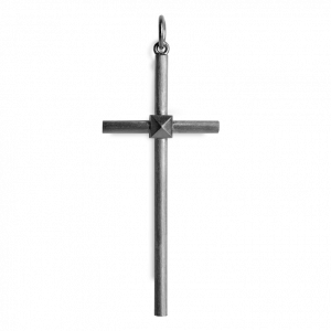Big Simple Cross, rhodinated sterling silver