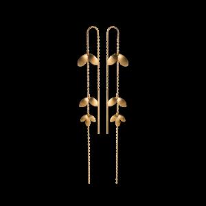 Chain Earring with 3 Leaves, forgyldt sterling sølv