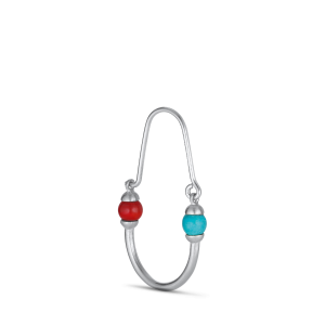 Splash Oval Creole with turquoise and coral, Silber