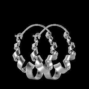 Curly Hoop | Stor | Mat sølv