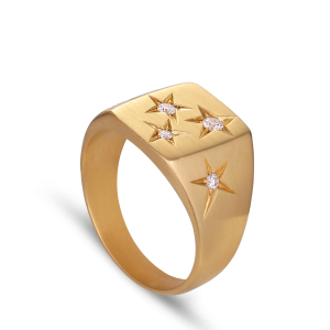 Signet Ring With Diamonds | 18 Carat Cold