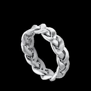 Flet Ring | Stor | Mat sølv