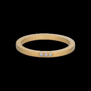 Alliansring, 18 karat guld, 3 diamanter, 0.015 ct.
