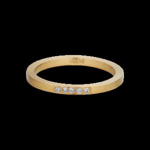 Alliansring, 18 karat guld, 5 diamanter, 0,025 ct.