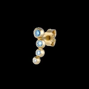 Örhängen, 18 karat guld, blå och vita briljantslipade diamanter, 0,16 karat