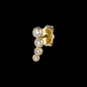 Ear stud, 18 karat guld, med 4 hvide brill. 0,07 ct.