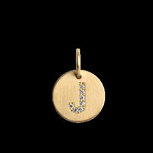 Kombination af ankerkæde og medium Lovetag vedhæng med diamanter, 18 karat guld