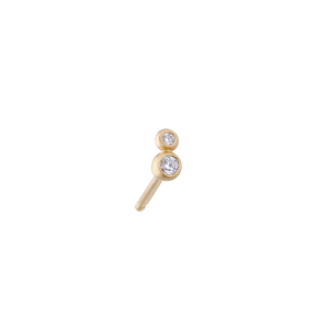 Ball ear stud duo, 18 karat guld, 0,02 karat diamant