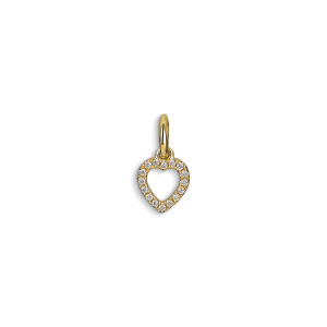 Letter Pendant with diamonds Heart, 18 karat gull, 0.032 ct diamant