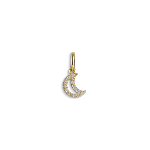 Letter Pendant with diamonds Halfmoon, 18 karat gull, 0.032 ct diamant