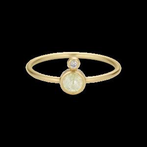 Ring, rosenkåret diamant og 0,02 ct. diamant, 18 karat guld
