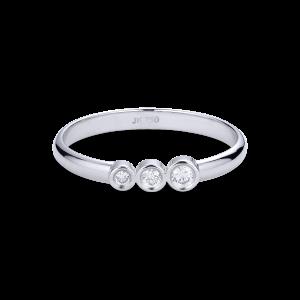 Enkel vigselring med 3 diamanter, 0,095 ct. 18 karat vitt guld