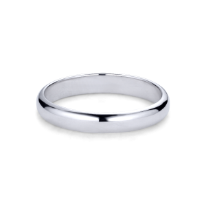 Simple wedding ring, men, 18 carat white gold