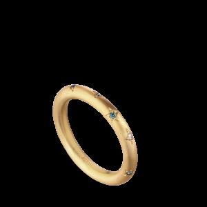 Star engraved ring, 10 diamonds, 0,12 ct. 18-carat gold