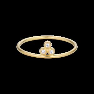 Temple Ring, 3 diamonds, 0.03 ct. 18-carat gold
