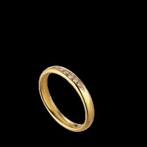 Vielsesring, 7 diamanter, 0,10 karat, 18 karat gull