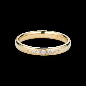 Vielsesring, 7 diamanter, 0,10 karat, 18 karat guld
