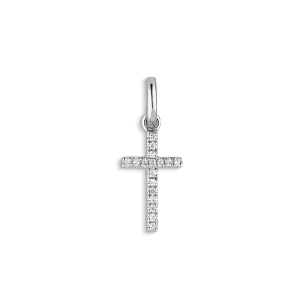 Small Cross Pendant, 18 karat vitguld, 0,04 karat diamanter