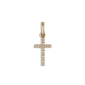 Small Cross Pendant, 18 karat hvitt gull, 0,04 karat. diamanter