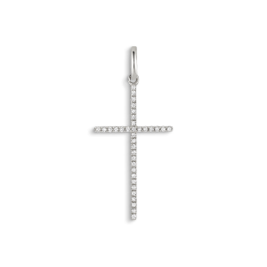 Big Cross Pendant, 18-carat white gold, 0.098 ct. diamonds