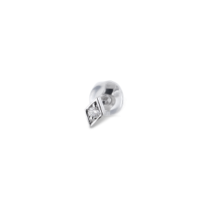 Rhomb ear stud, 18 karat hvidguld, 0.025 ct diamant