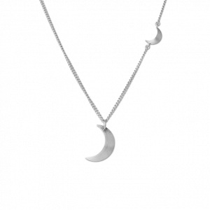 Combination of Half Moon Necklace and Half Moon Pendant, sterling silver