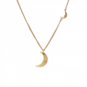 Combination of Half Moon Necklace and Half Moon Pendant, vergoldetes Sterlingsilber