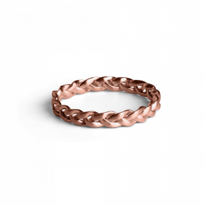 Small Braided Ring, rosaforgylt sterlingsølv