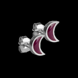 Crescent Stud with Burgundy Enamel, sterlingsølv
